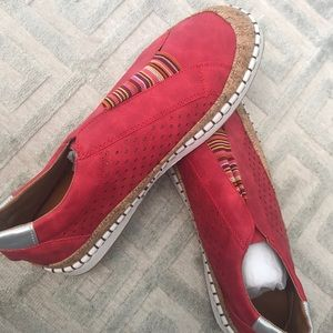 Beautiful red slip on tennis shoes!!